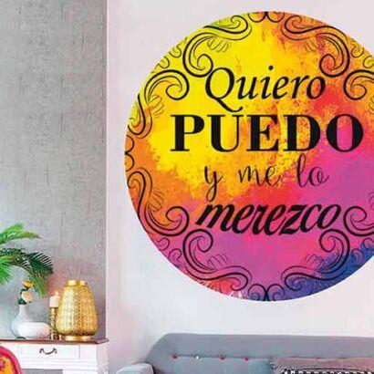 Vinilo Frases Quiero Puedo y Merezco Colores