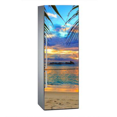 Vinilo Frigorífico Amanecer Playa Tropical