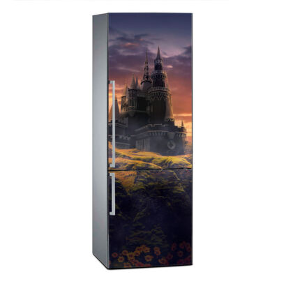 vinilo-frigorifico-castillo-atardecer-vinilo