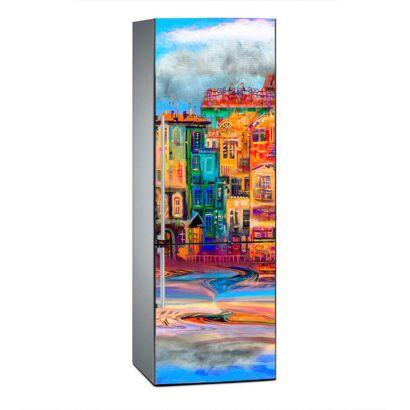 Vinilo Frigorífico Ciudad Acuarela Multicolor 4