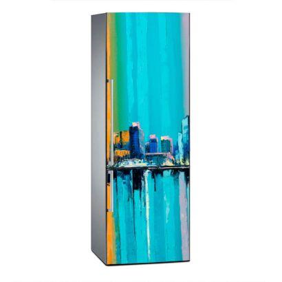 Vinilo Frigorífico Ciudad Vintage Escala Azul