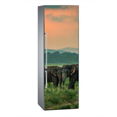 Vinilo Frigorífico Elefantes al Atardecer