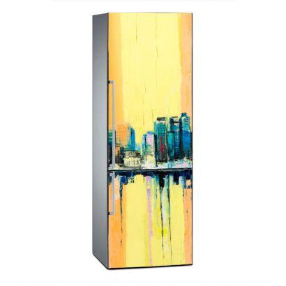 Vinilo Frigorífico Pintura Ciudad Vintage Amarilla