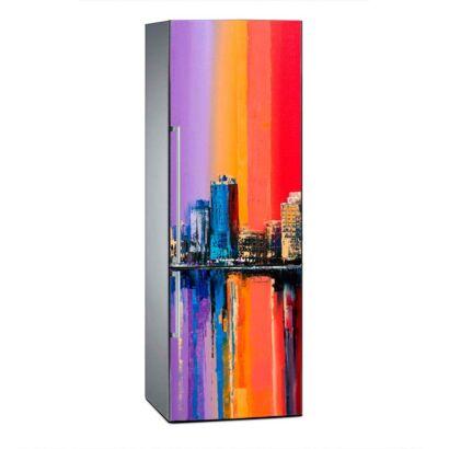 Vinilo Frigorífico Pintura Ciudad Vintage Multicolor