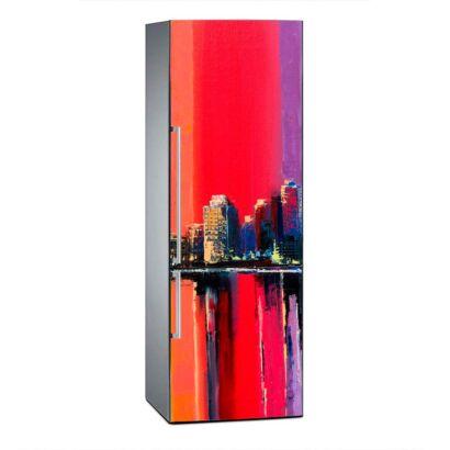 Vinilo Frigorífico Pintura Ciudad Vintage Roja 2