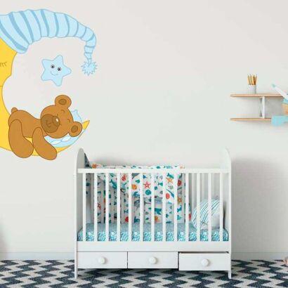 Vinilo Infantil Dulces Sueños Osito Azul