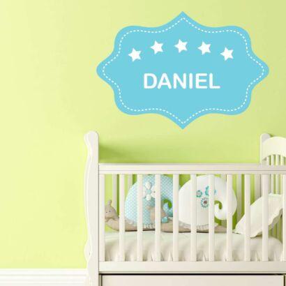 Vinilo Infantil Etiqueta Azul Estrellas Personalizado
