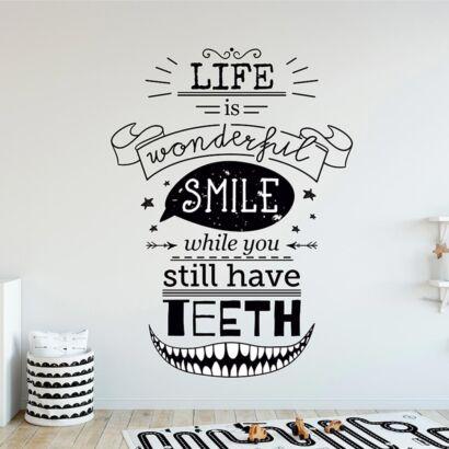 Vinilo Infantil La Vida es Maravillosa Sonríe