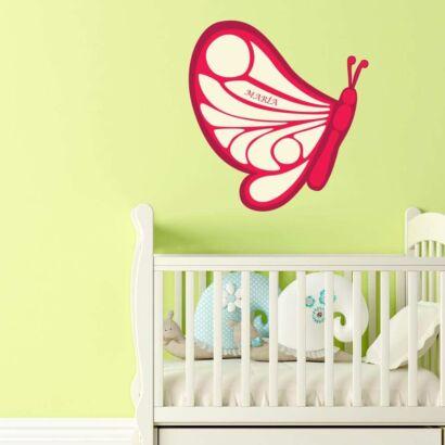 Vinilo Infantil Mariposa Roja Personalizado