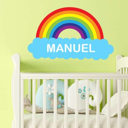 Vinilo Infantil Nube Arco Iris Personalizado