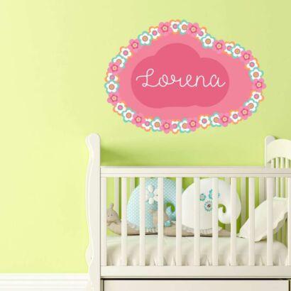 Vinilo Infantil Nube Floral Personalizado