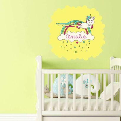 Vinilo Infantil Unicornio Arco Iris Personalizado