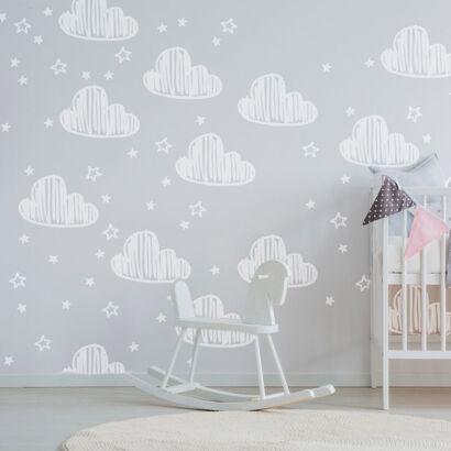 Vinilo Infantil Nubes y Estrellas Tiza
