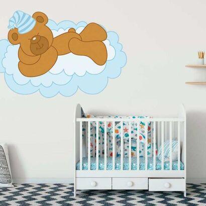 Vinilo Infantil Osito Nube Azul