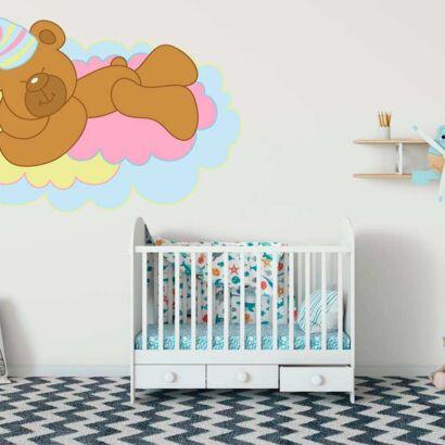Vinilo Infantil Osito Nube Colores