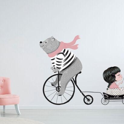 Vinilo Infantil Oso Bicicleta y Niña