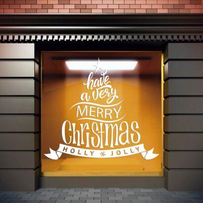 Vinilo Navidad Árbol Holly Jolly