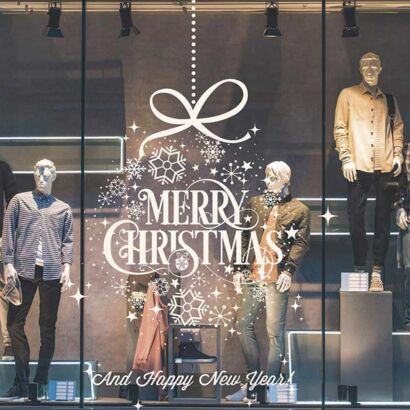 Vinilo Navidad Copos Nieve Merry Christmas