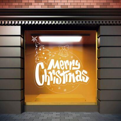 Vinilo Navidad Merry Christmas Bola y Árbol