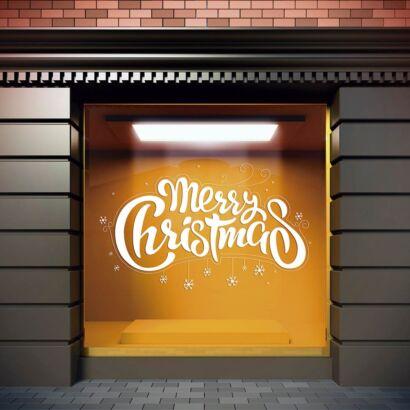 Vinilo Navidad Merry Christmas Estrellas Blancas