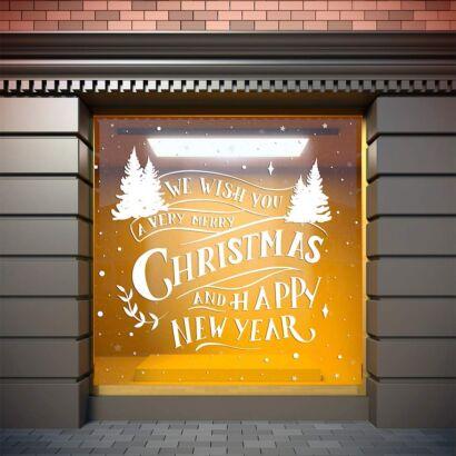Vinilo Navidad Etiqueta We Wish Merry Christmas