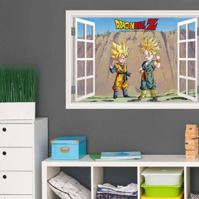 Vinilo efecto ventana Dragon Ball conjunto de Goten y Trunk Super Saiyan