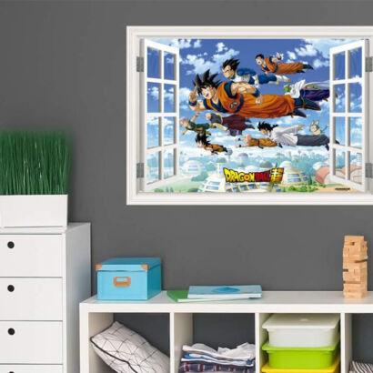 Vinilo efecto ventana Dragon Ball conjunto de personajes volando