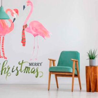 vinilo-pared-flamencos-merry-christmas