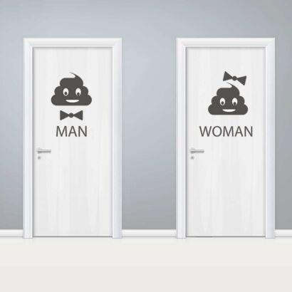 Vinilo Puerta WC Lazos Chico y Chica