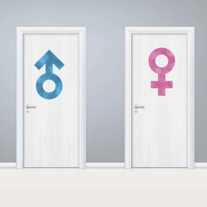 Vinilo Puerta WC Signos Azul y Rosa
