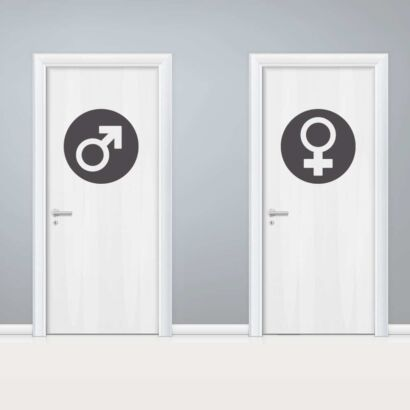 Vinilo Puerta WC Circulos Masculino y Femenino