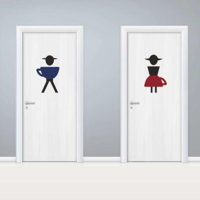 Vinilo Puerta WC Tazas Masculino y Femenino