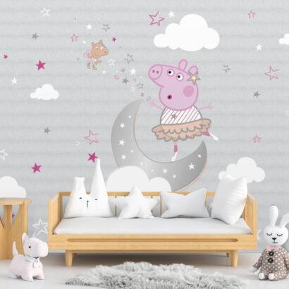 Fotomural Peppa Pig Luna y nubes