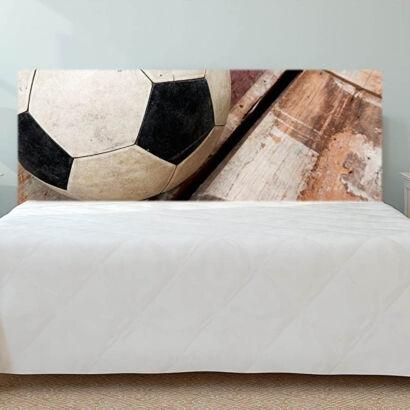 Cabecero Cama Deportivo PVC Impresión Digital Balón de Fútbol sobre Madera Multicolor