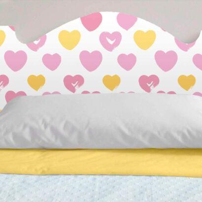 Cabecero Cama PVC Infantil Impresión Digital Corazones Rosas y Amarillos