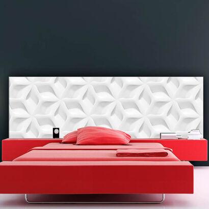 Cabecero Cama PVC Textura Abstracta Blanca Moderna