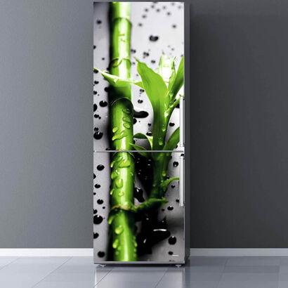 Vinilo Frigorífico Bambú Gotas de Agua