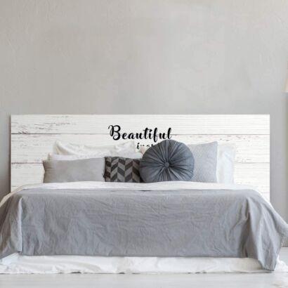 Cabecero Cama PVC Impresión Digital Textura Texto Beautiful Things sobre Madera Blanca