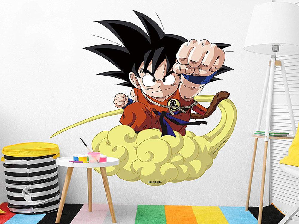 pegatina pared Goku en nube