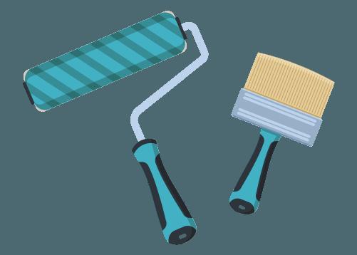 Rodillo y brocha para la colocación de fotomurales decorativos