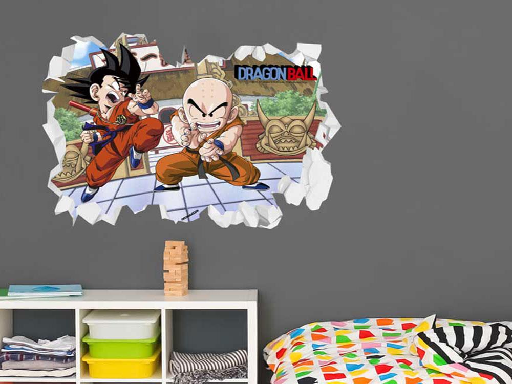 vinilo de pared goku hueco 3d