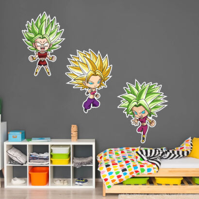 Pack de Pegatinas de Pared en Vinilo Dragon Ball Super Caulifla, Kefla y Kale