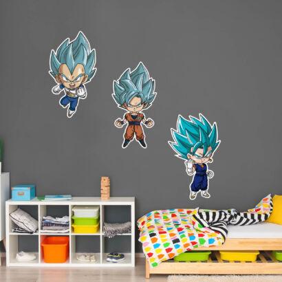 Pack de Pegatinas de Pared en Vinilo Dragon Ball Super Goku, Vegeta y Vegito Blue