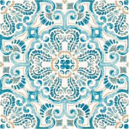 Vinilo para Suelo Imitación Azulejos Azules
