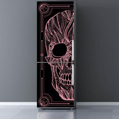 Vinilo Frigorífico Calavera Zentangle Rosa