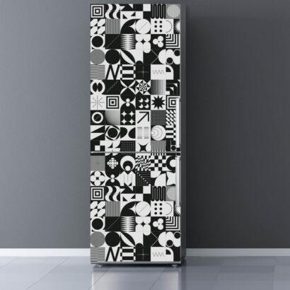 Vinilo Frigorífico Blanco y Negro Abstracto