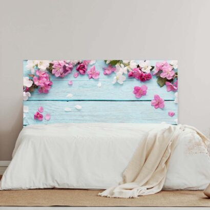 Cabecero Cama Madera Azul Flores