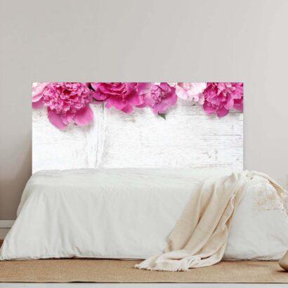 Cabecero Cama Madera Blanca Flores Rosas