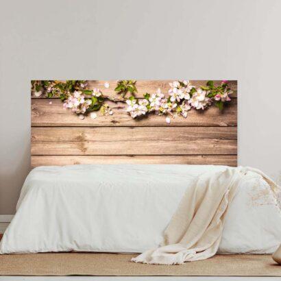 Cabecero Cama Madera con Flores