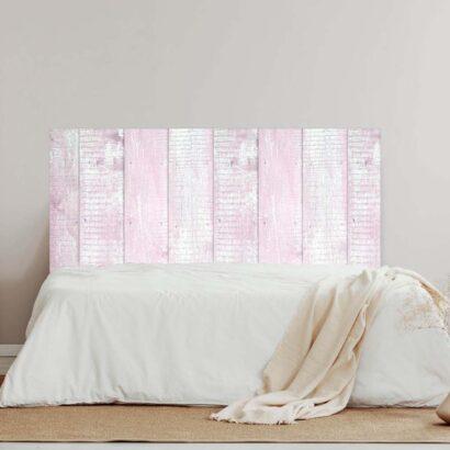 Cabecero Cama Madera Rosa y Blanca